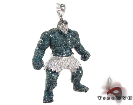Custom Jewelry White Gold Hulk Pendant Metal