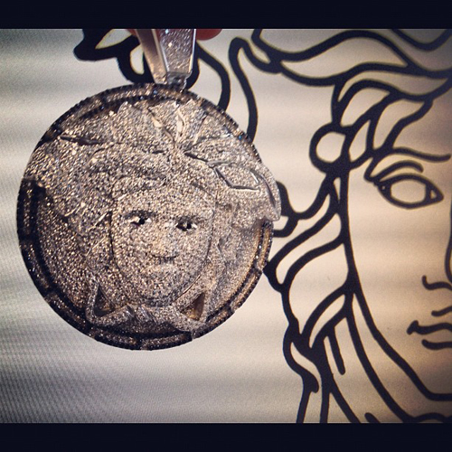 Custom Jewerly- Medusa Head CZ Silver Pendant 32329 Metal