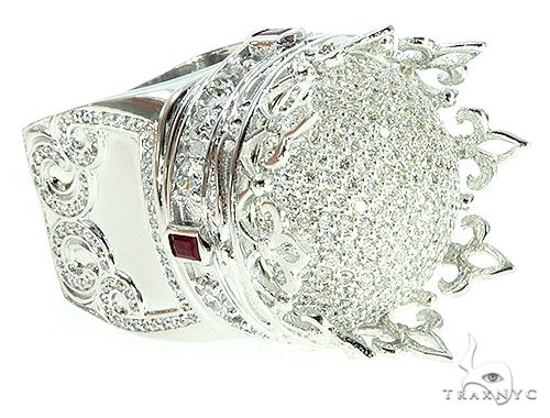 Custom Made 14K White Gold Prong Diamond Royal Crown Ring 65749 Stone
