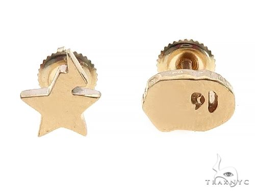 Custom Made 14K Yellow Gold Ape And Star Earrings 65651 Metal