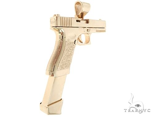 Custom Made 14K Yellow Gold Gun Pendant 65012 Metal