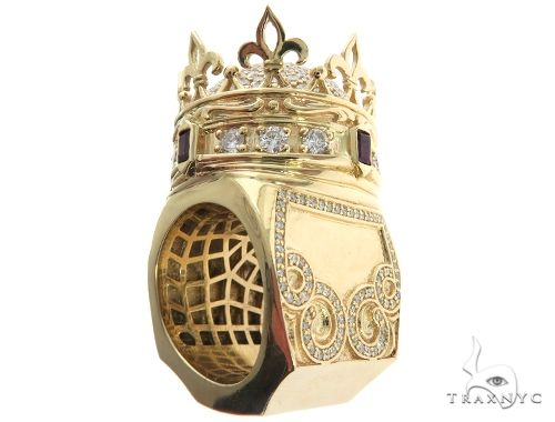 Custom Made 14K Yellow Gold Prong Diamond Royal Crown Ring Stone