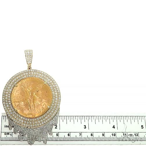 Custom Made '50 Pesos' 3 Row Diamond Frame With Drip Underneath 66489 Hip Hop Pendants
