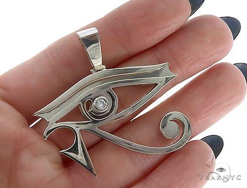 Custom Made Bezel Diamond Eye of Horus Pendant Egyptian Evil Eye 65131 Metal