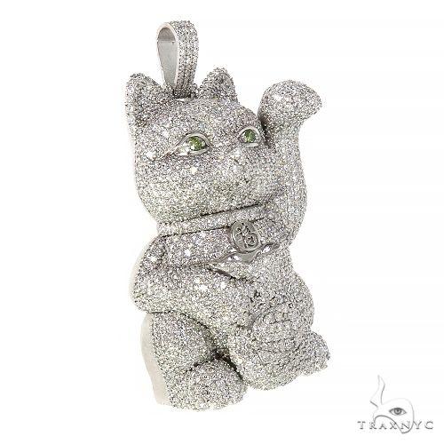 Custom Made Chinese Lucky Cat Diamond Pendant 66600 Metal