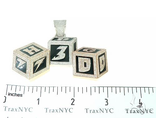 Custom Made Diamond 3 Blocks 730 Pendant 65784 Metal