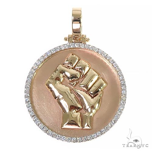 Custom Made Diamond Frame Solid Gold People Power BLM Pendant 66533 Metal