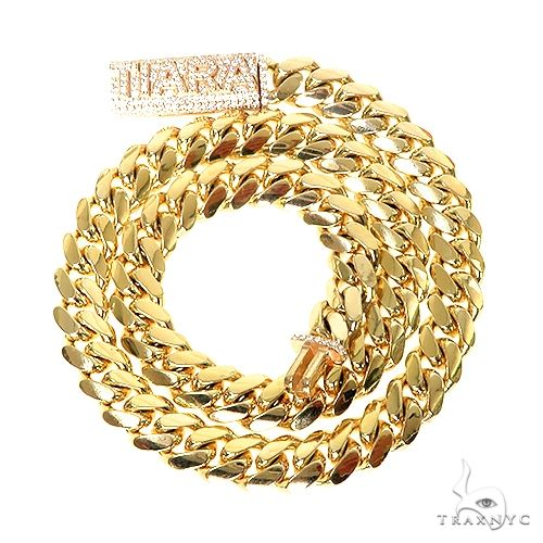 Custom Made Diamond Lock Miami Cuan Link Chain 67242 Gold