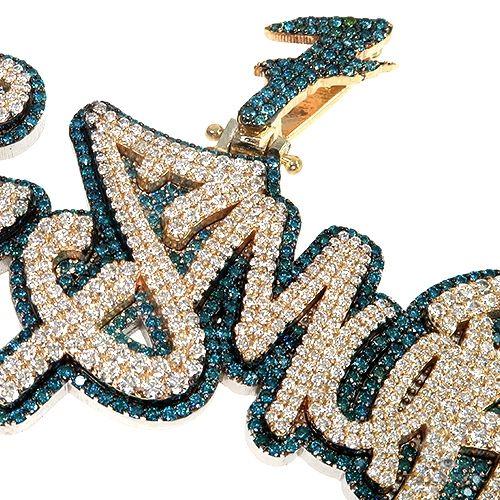 Custom Made Double Layer Name Pendant 66938 Metal