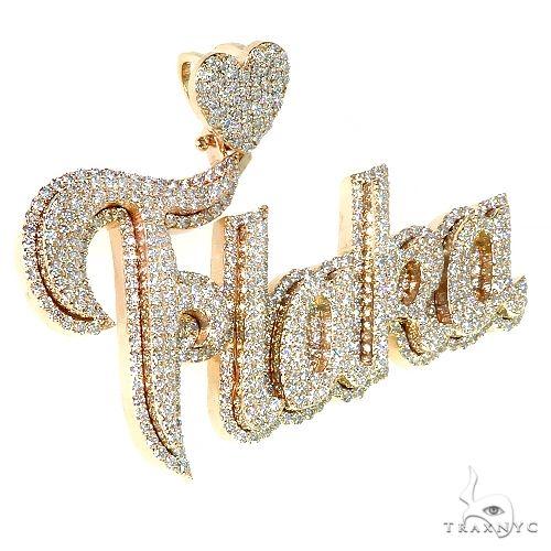 Custom Made 'FLAKA' Diamond Name Pendant 67079 Metal