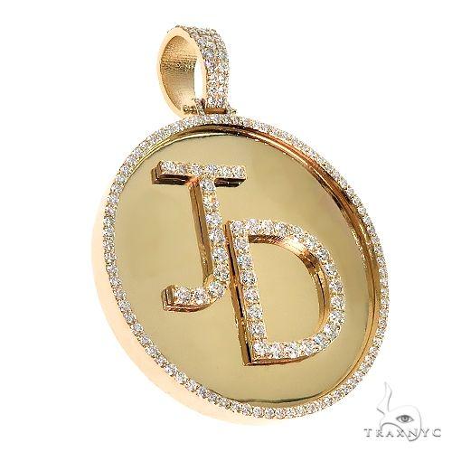 Custom Made 'JD' Round Diamond Pendant 67097 Metal