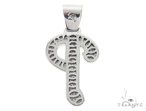 Custom Made P Diamond Pendant 65658 Metal