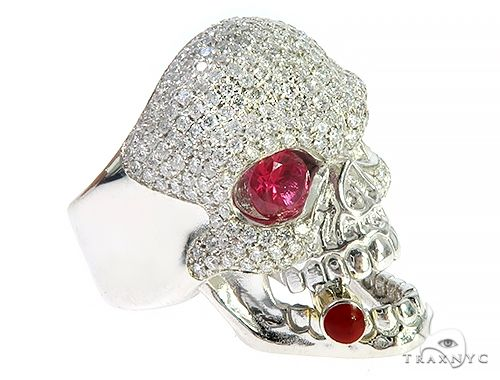 Custom Made Skull Ring With Cigar 65668 Stone