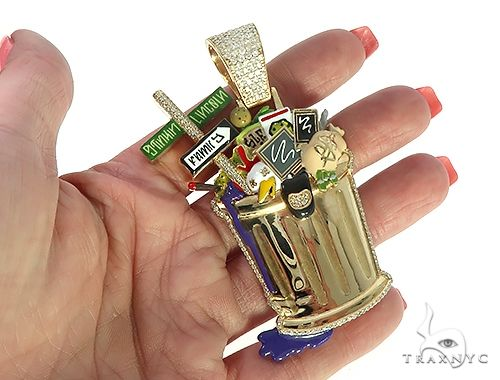 Custom Made Trash Can 65780 Hip Hop Pendants