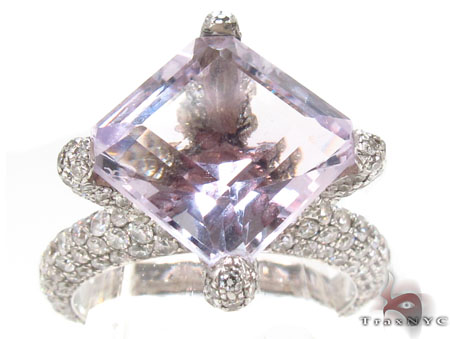 Custom Pink Amethyst Diamond Ring Anniversary/Fashion