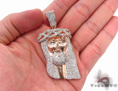 Custom Prong Diamond Rose Gold Jesus Pendant Style
