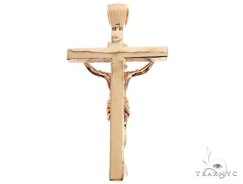 14K Solid Yellow Gold Cross Jesus Crucifix Gold