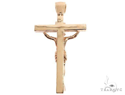 14K Solid Yellow Gold Cross Jesus Crucifix Gold