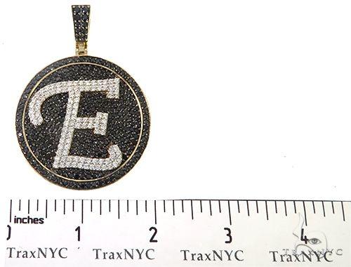Custom Special White Gold Black & White Diamond E Initial Pendant 65250 Style
