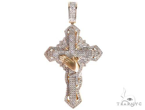 Custom TraxNYC Diamond Cross Crucifix with Praying Hands 64014 Diamond