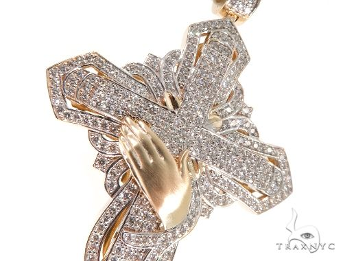 Custom TraxNYC Diamond Cross Crucifix with Praying Hands 64014 Diamond