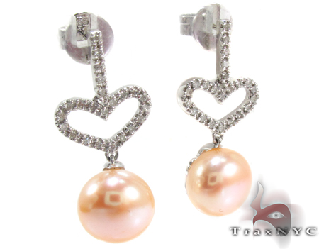 Dangle Heart Diamond Pearl Earrings Stone