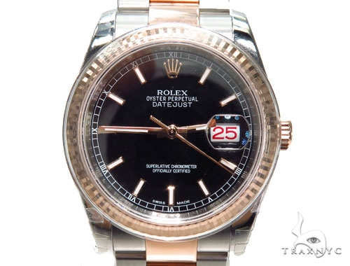 Rolex Datejust Rose Gold and Steel 116261 bkso Diamond Rolex Watch Collection