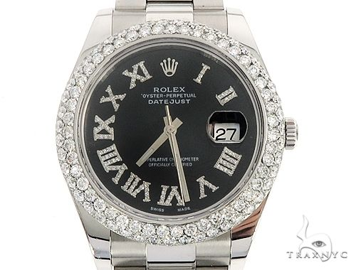 Datejust 41mm Roman Numeral Black Dial Diamond Bezel Stainless Steel Mens Watch 64985 Diamond Watch Inactive