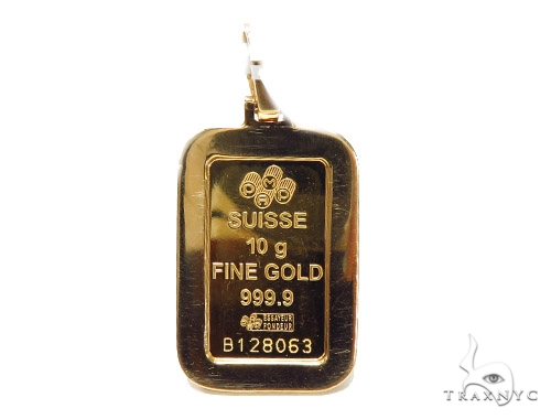 10 Gram Gold Pamp Suisse Bar Diamond Pendant 42305 Metal