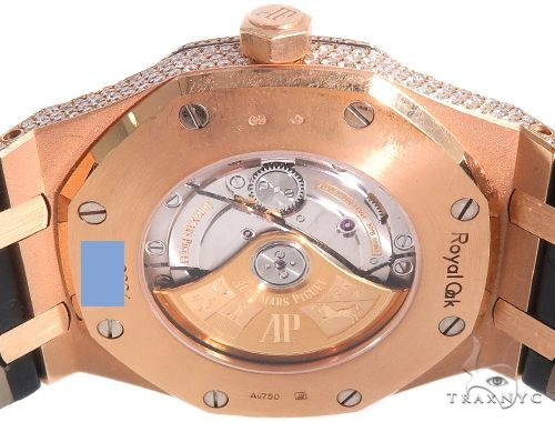 Diamond Audemars Piguet Royal Oak 41mm Watch with Leather Strap 64058 Diamond Watch Inactive