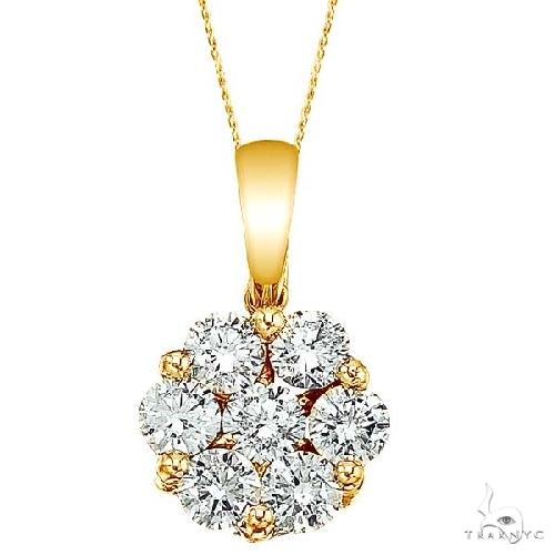 Diamond Cluster Flower Pendant Necklace in 14k Yello Gold Stone
