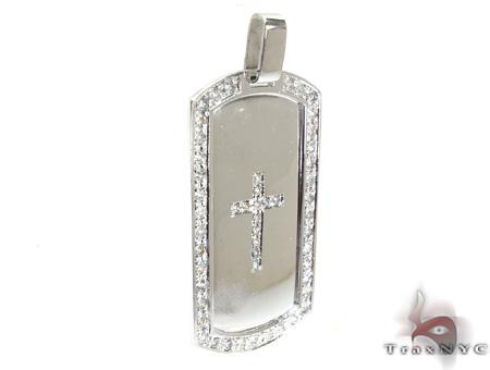 Diamond Cross Crucifix Dog Tag Style