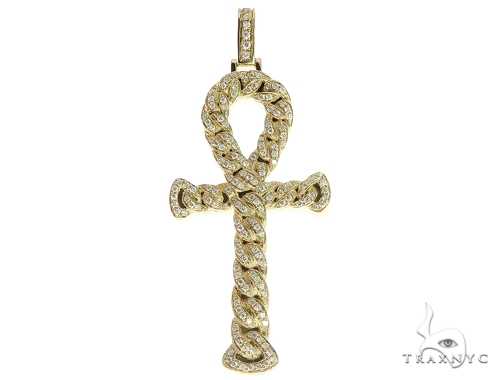 14K Yellow Gold Diamond Ankh Cross Crucifix Pendant 56545 Metal