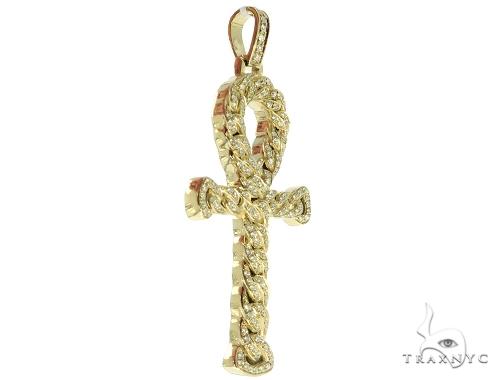 14K Yellow Gold Diamond Ankh Cross Crucifix Pendant 56545 Metal