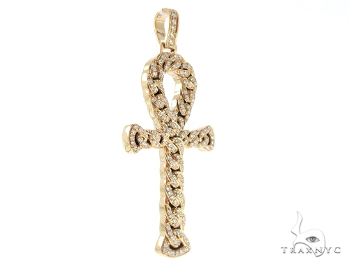 14K Rose Gold Diamond Ankh Cross Crucifix Pendant 56546 Metal