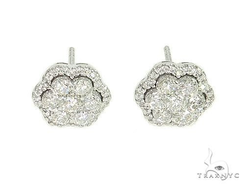 Diamond Flower Stud Earrings 65872 Stone