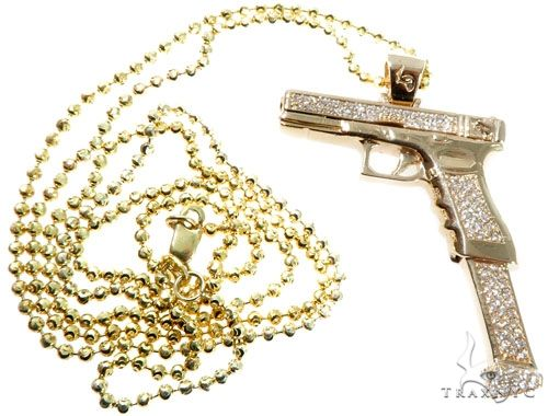 Diamond Gun Pendant Moon Cut Link Chain Set 64412 Style