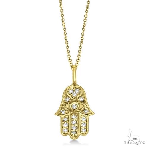 Diamond Hamsa Pendant Necklace 14k Yellow Gold Stone