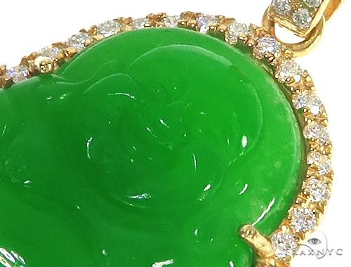 Diamond Jade Stone Buddha Pendant 65482 65483 Metal