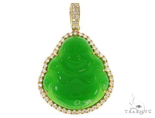 Diamond Jade Stone Buddha Pendant 65482 Metal
