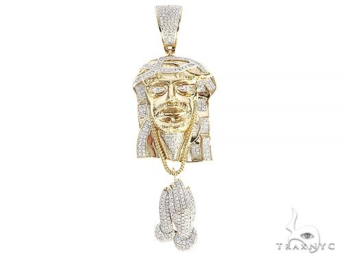 Diamond Jesus Pendant With Pray Hands 65205 Style