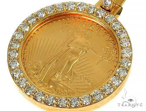 Diamond Lady Liberty Coin Pendant 66219 Metal