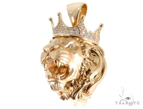 Medium Diamond Lion Head Pendant 64024 Metal