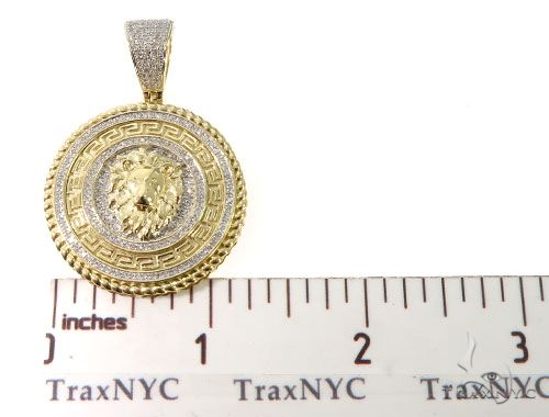 Diamond Lion Medallion Pendant 64039 Metal