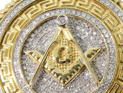Diamond Masonic Medallion Pendant 64040 Metal