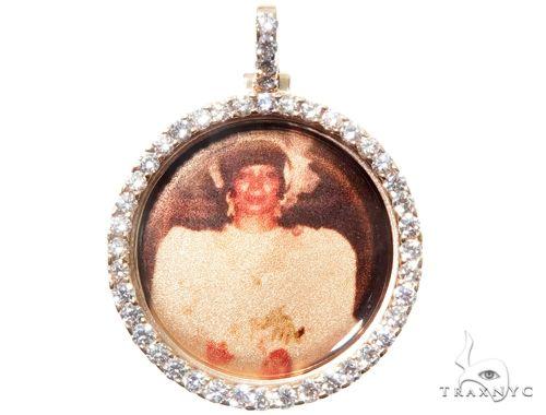 14K Gold Custom Photo Pendant 1 Inch 64428 Stone