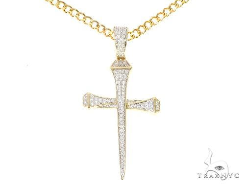Diamond Nail Cross Cuban Link Chain Set 65138 Style