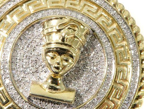 Diamond Nefertiti Medallion Pendant 64041 Metal