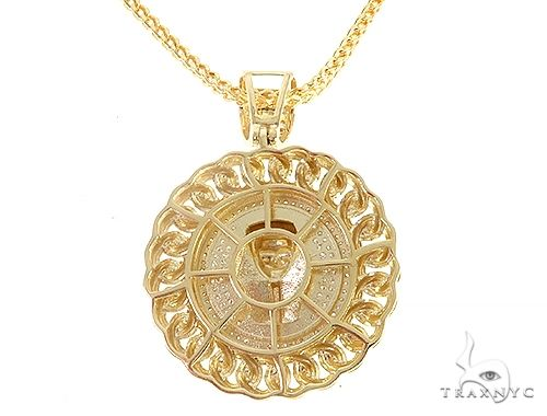 Diamond Pharaoh King Tut Pendant Franco Link Chain Set 65137 Style