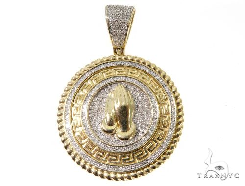 Diamond Prayer Hands Pendant 64038 Metal